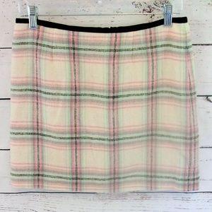 Vineyard Vines light pink & green plaid mini skirt